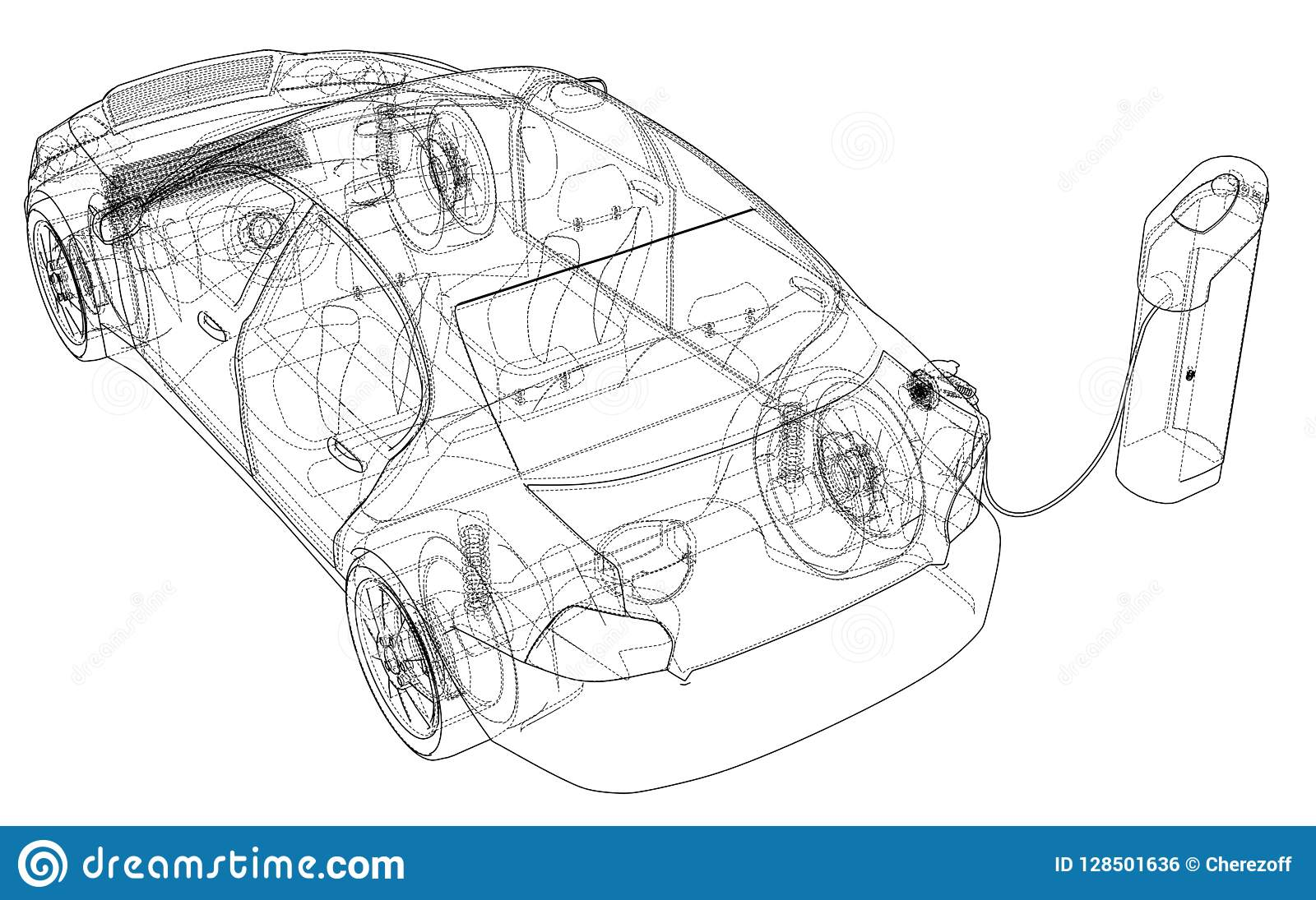 electric vehicle charging station sketch  vector rendering of 3d  wire-frame  style  the layers of visible and invisible lines are separated