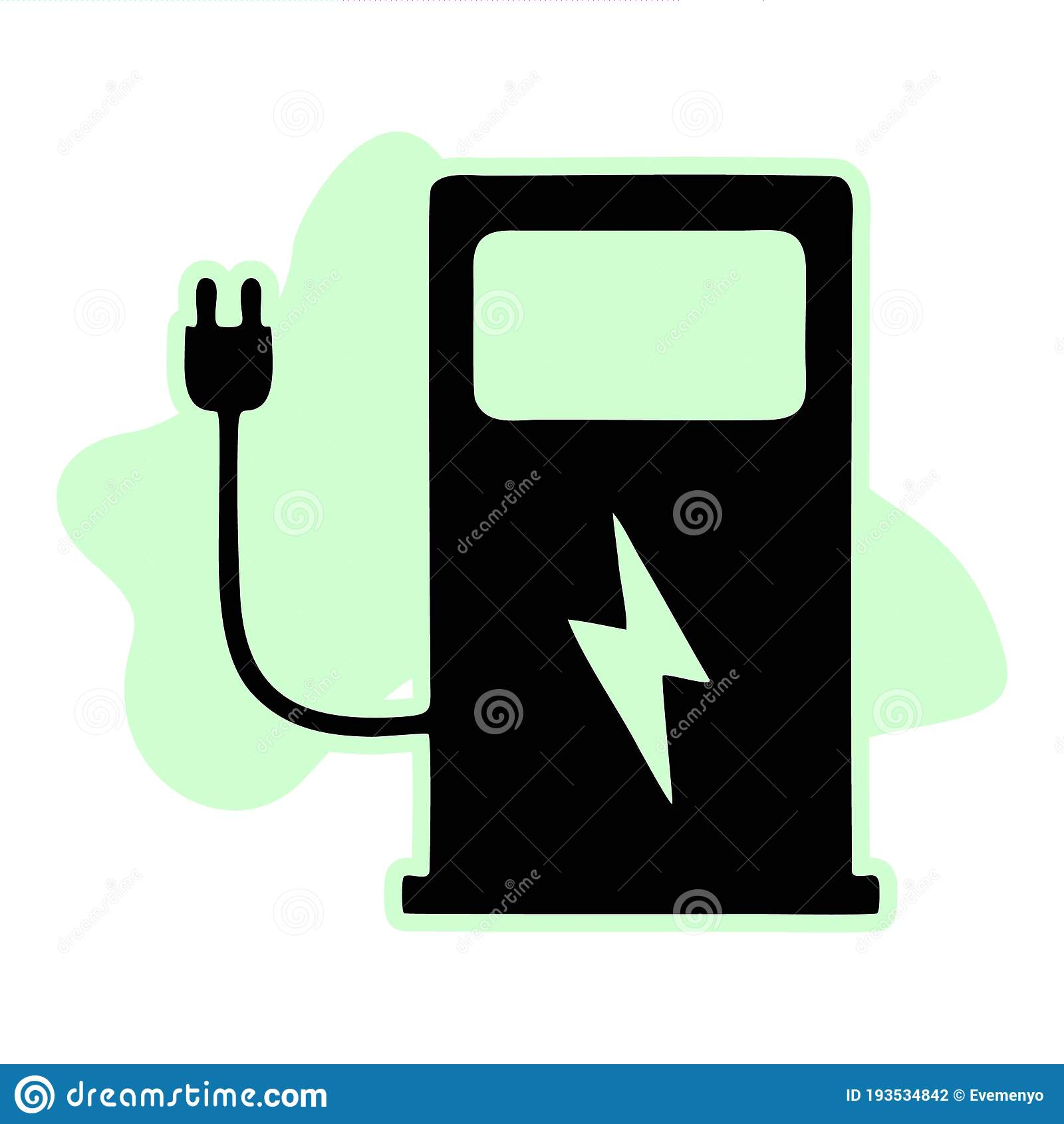 Electric Vehicle Charging Station On White Background Ev Charge Point For Electric Vehicles Stock Vector Illustration Of Automobile Cord 193534842