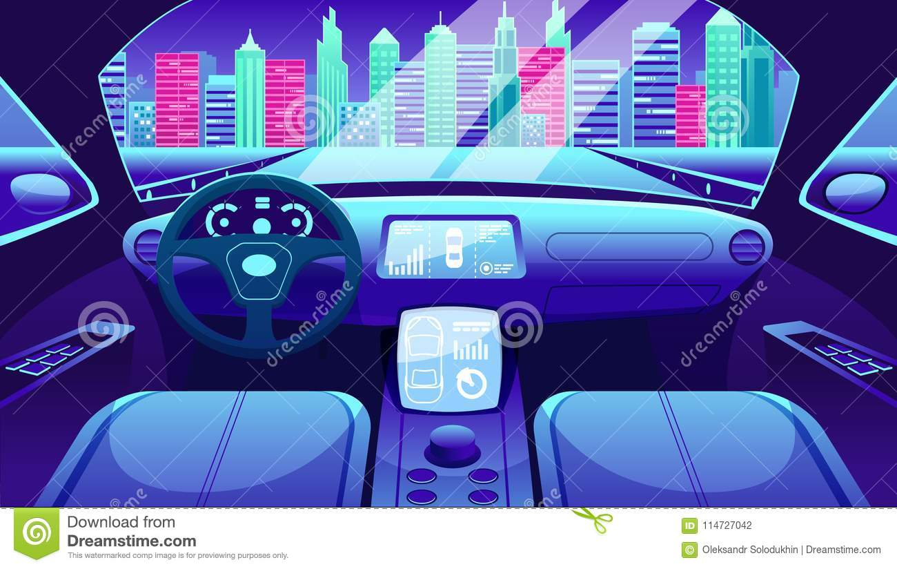 Electric vehicle dashboard of smart car. Virtual control of city traffic road Graphical User interface for electric car.