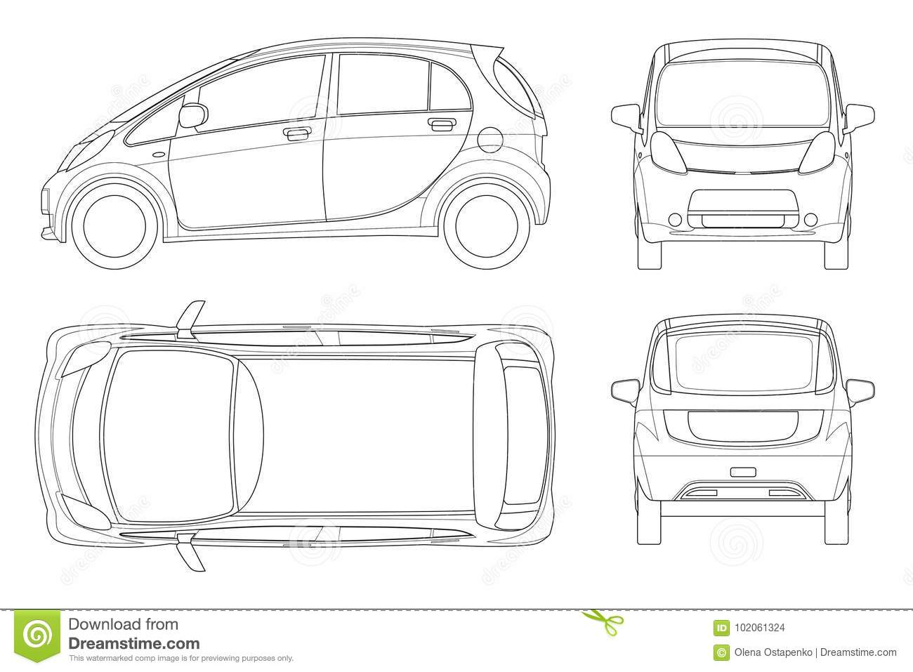 Electric vehicle or hybrid car in outline eco friendly hi tech auto download comp malvernweather Images