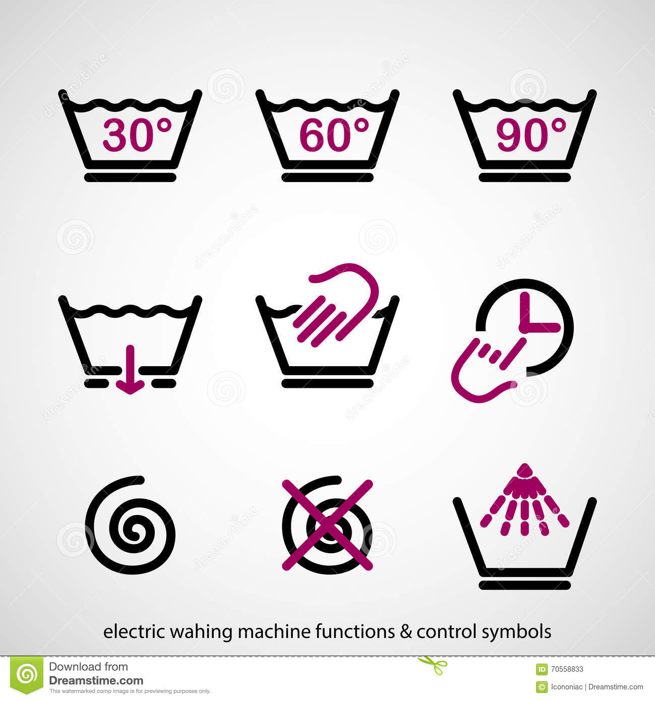 Electric Washing Machine Functions Control Symbols Stock Vector