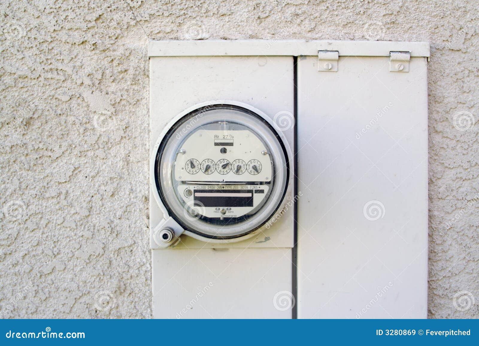 Hour Meters For Electrical Equipment : Electric watt hour meter stock image of