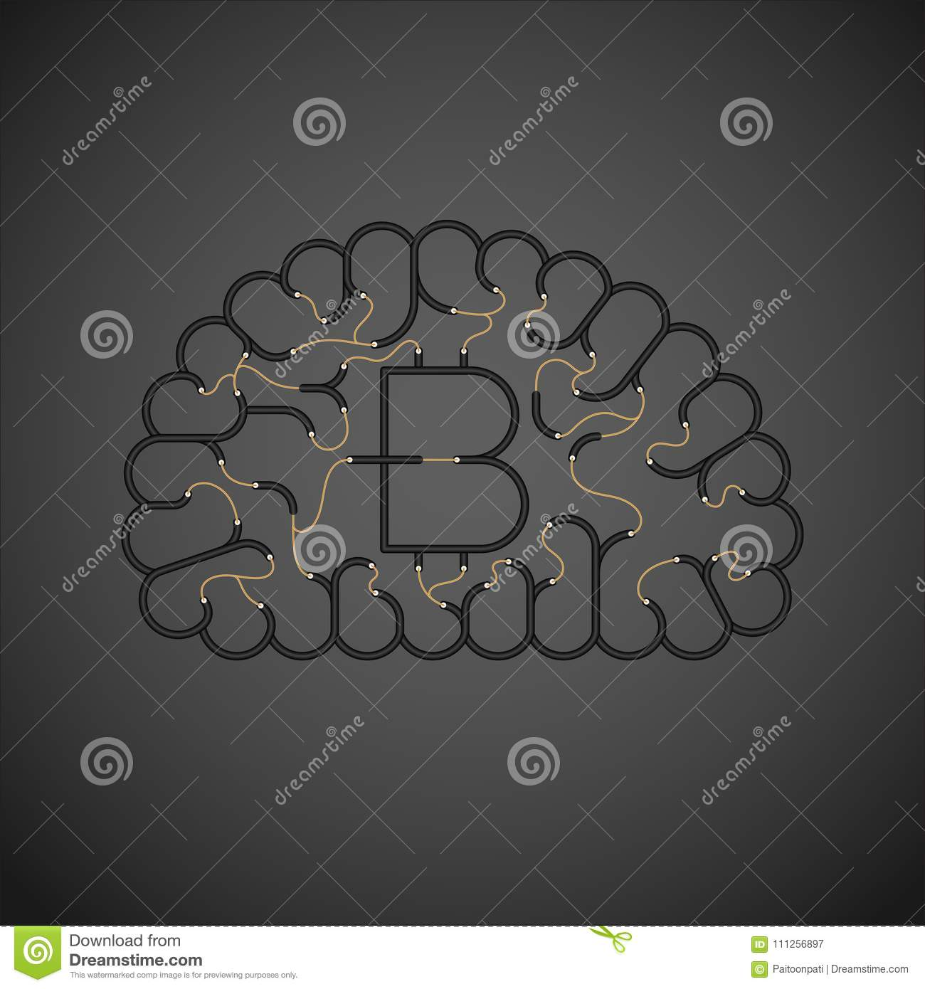 Electric Wire Cable Brain Black Color Internet Business Finance Wiring Diagram For Download Concept Design With Currency Bitcoin