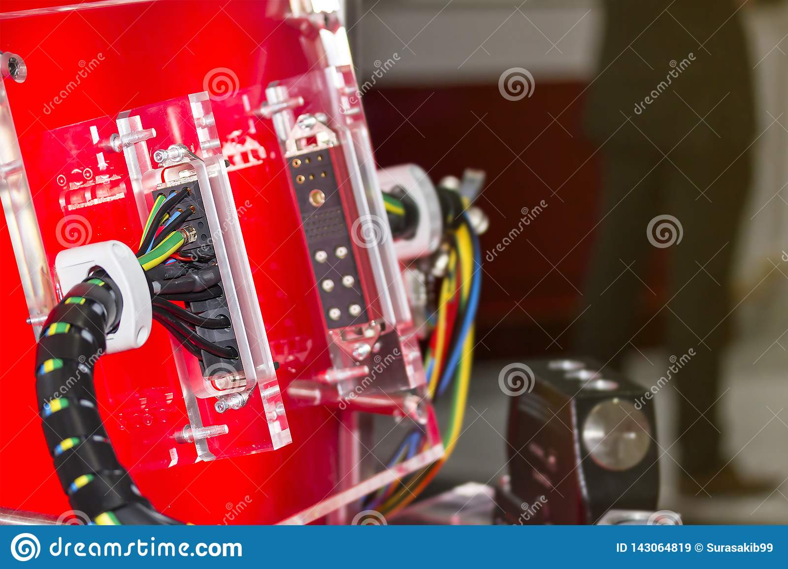 Electric Wire Connector For Industrial Machine And Other On Red Board Stock Image Image Of Design Electrical 143064819