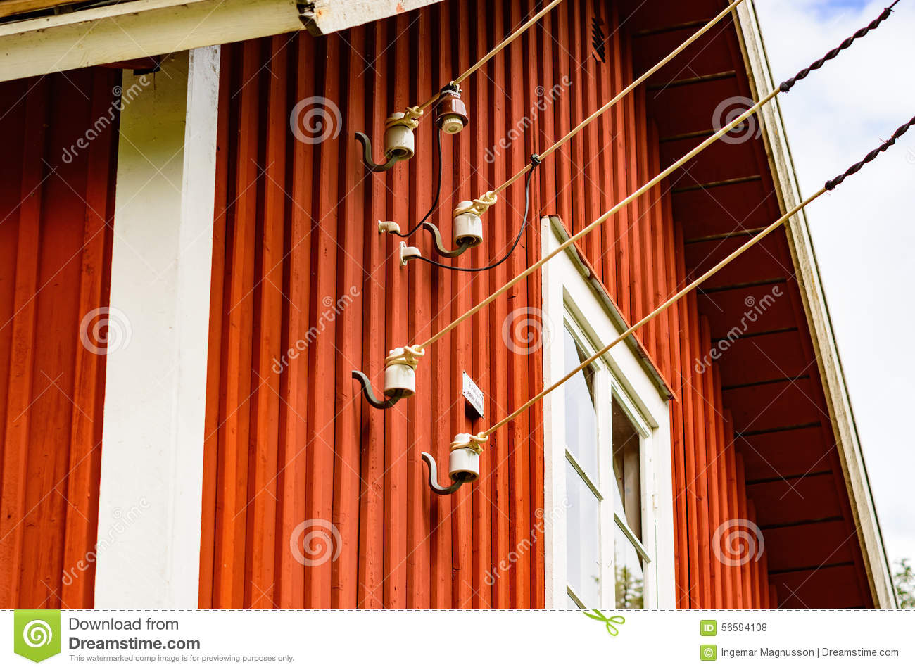 Electric wire on house stock photo. Image of electricity - 56594108