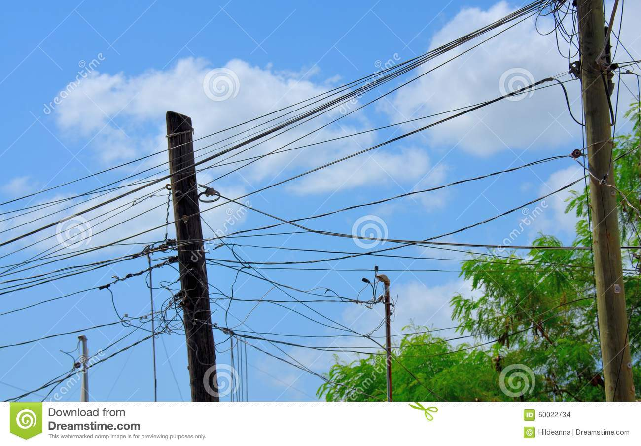Electric Wires On City Street Stock Photo - Image of industry, line ...