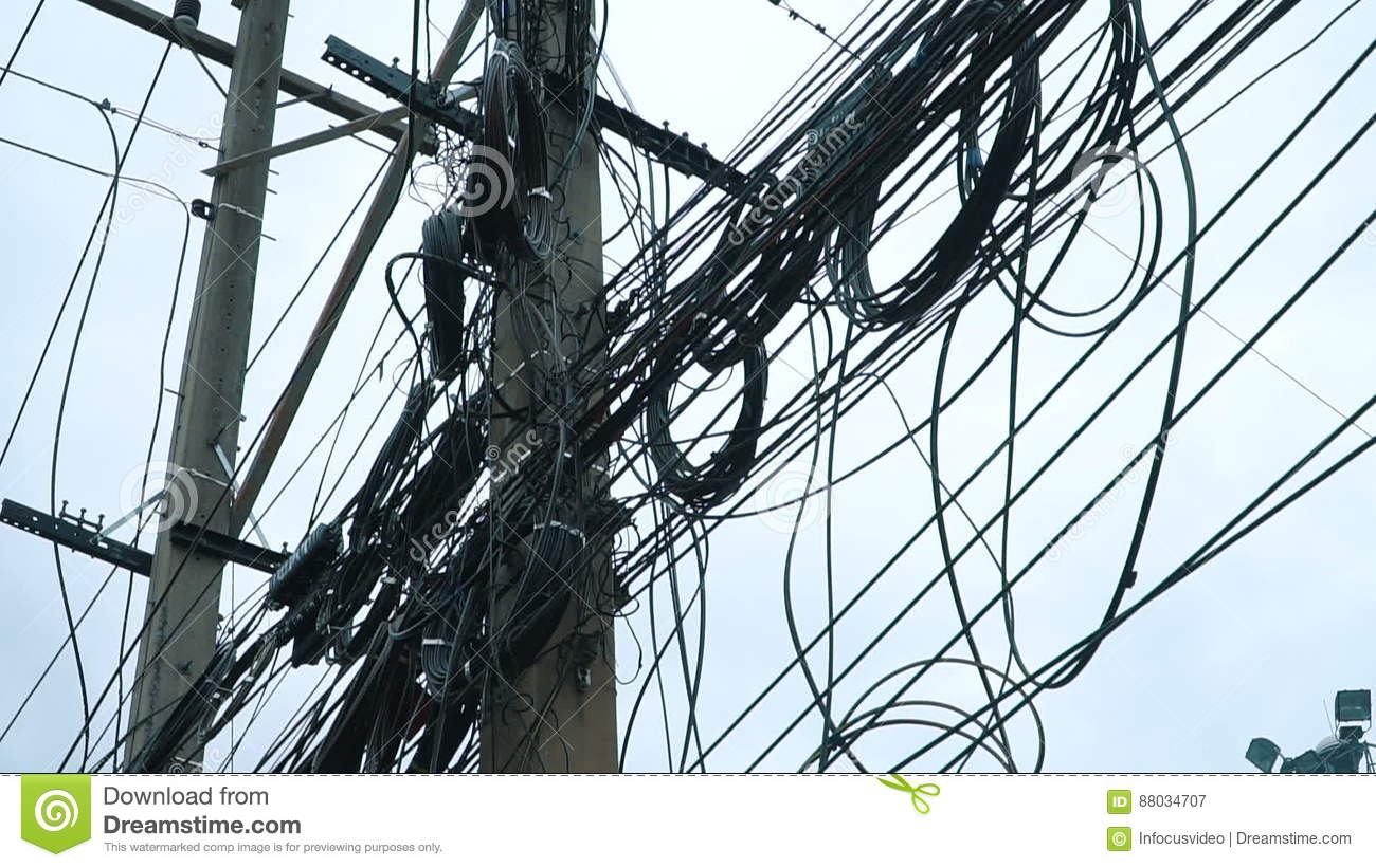 Electric wires on the pole stock video. Image of pillar - 88034707