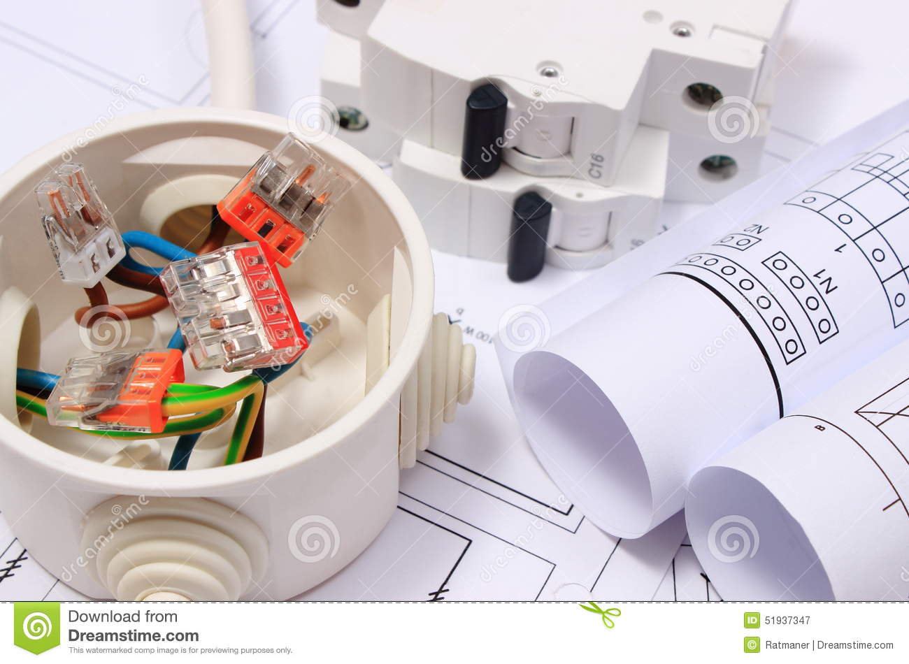 Electrical Box Diagrams And Electric Fuse On Construction Drawing Copper Wire Diagram Connections In Rolls Of House Accessories For Engineering Work