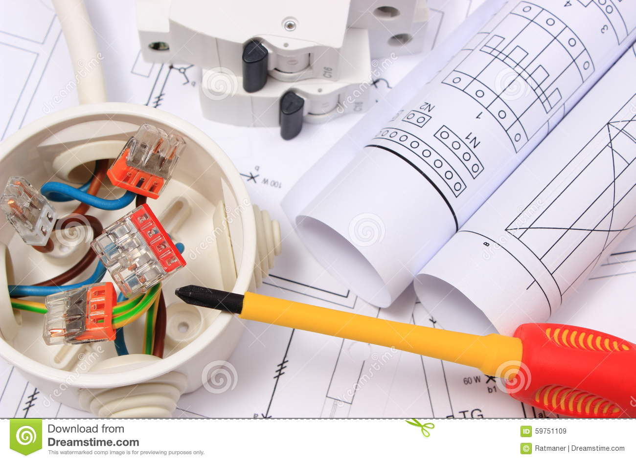 Electrical Box  Diagrams And Electric Fuse On Construction Drawing Stock Image