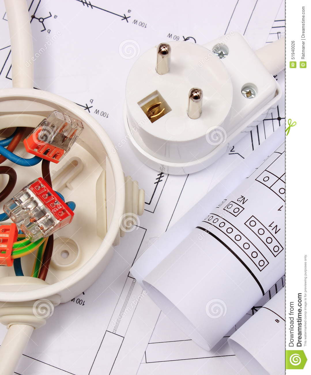 Electrical Box Diagrams And Electric Plug On Construction Drawing Wiring Diagram