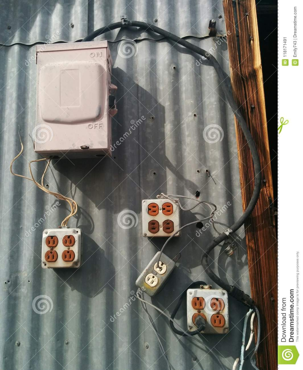 Electrical Box And Many Outlets In Unsafe Configuration Stock Image Wiring