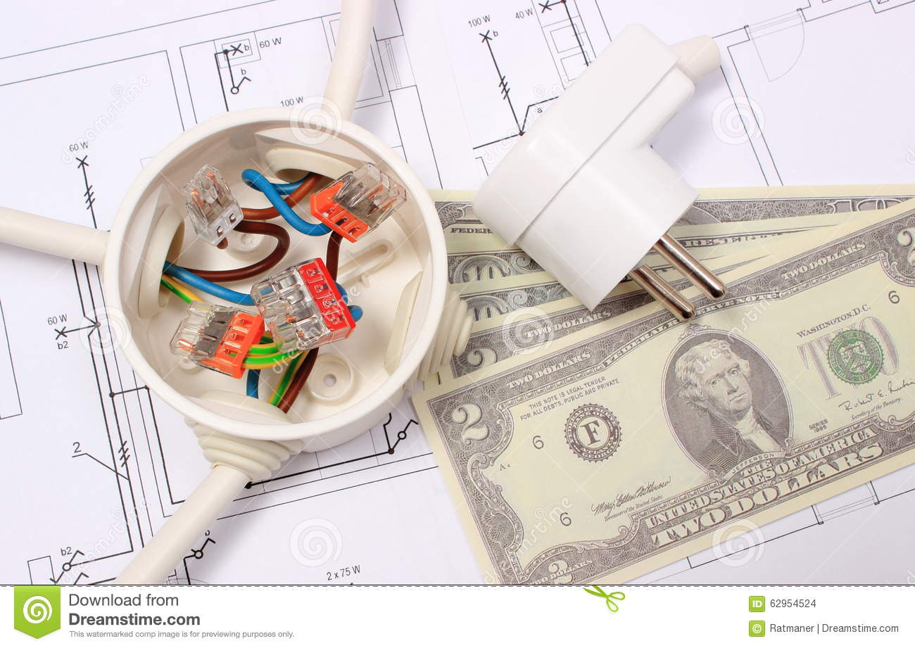 Electrical Box, Plug And Money On Drawing, Energy Concept Stock ...