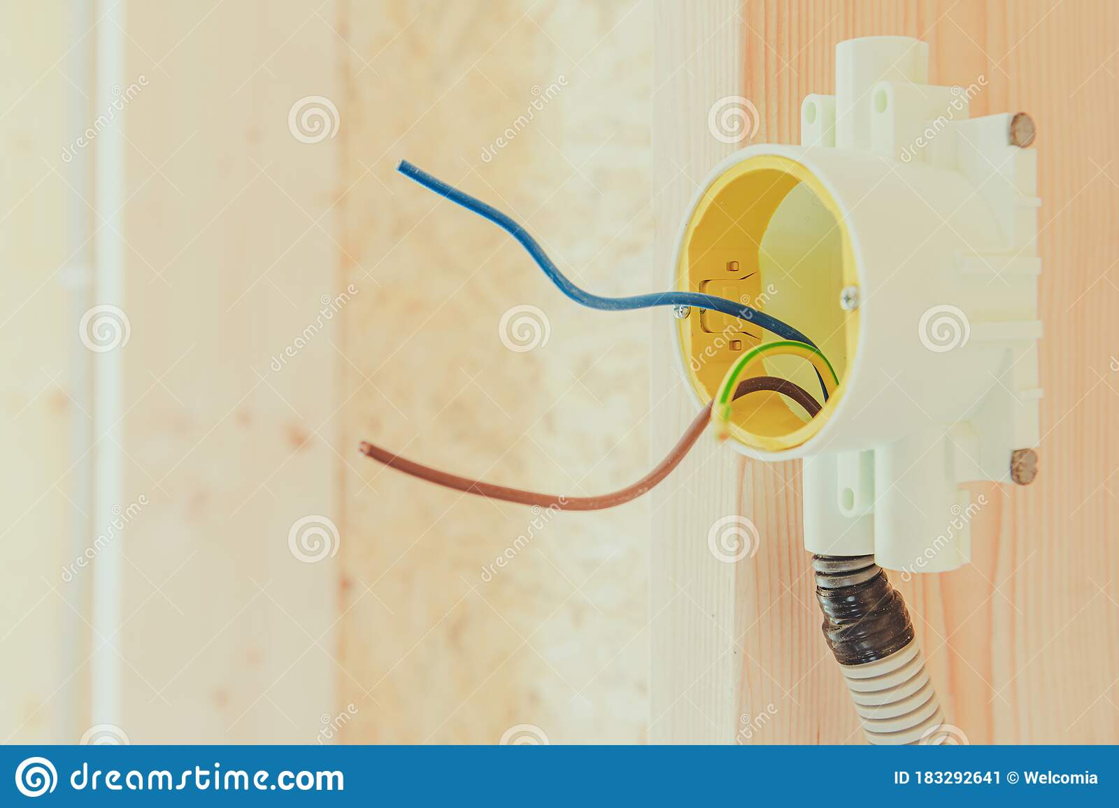 Electrical Box And Wiring In New Construction Stock Image Image Of Wood Construction 183292641
