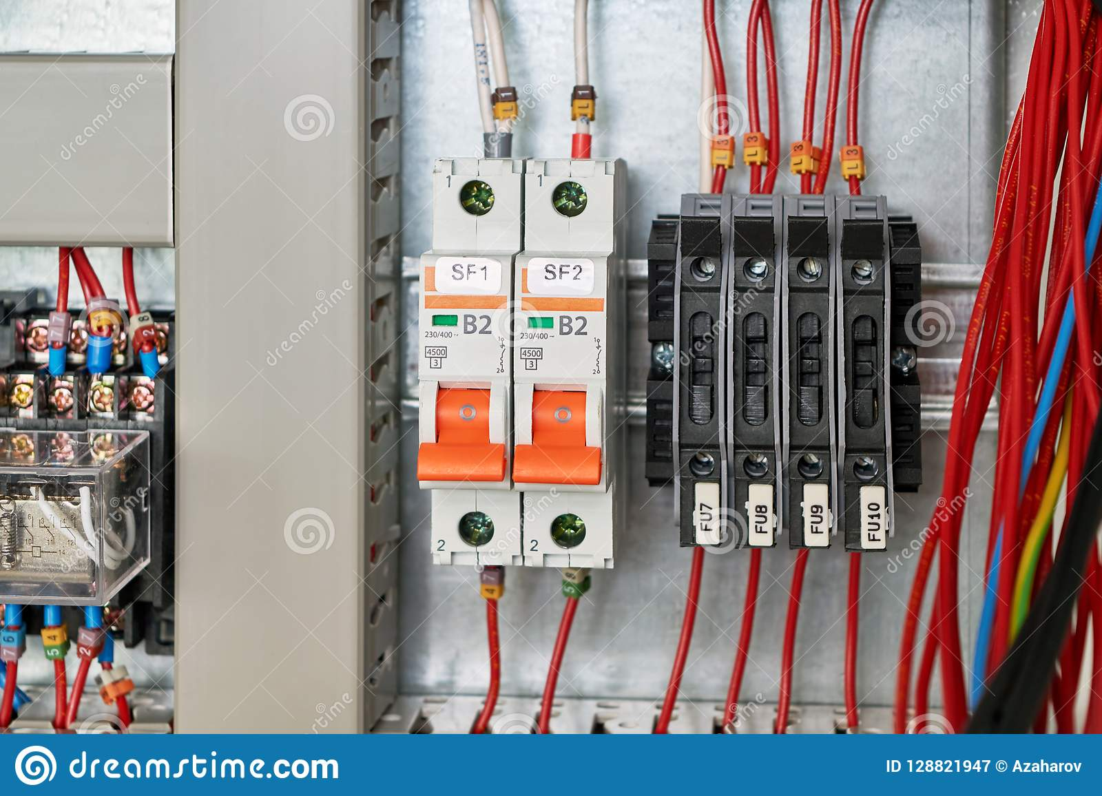 In The Electrical Cabinet Circuit Breakers And Fuse Holders ... Wiring Or Breaker on fuse breaker, concrete breaker, socket breaker,