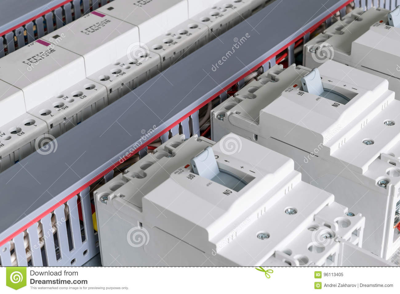 In The Electrical Cabinet Are Mounted Circuit Breakers Modular Circuits Switches Contactors