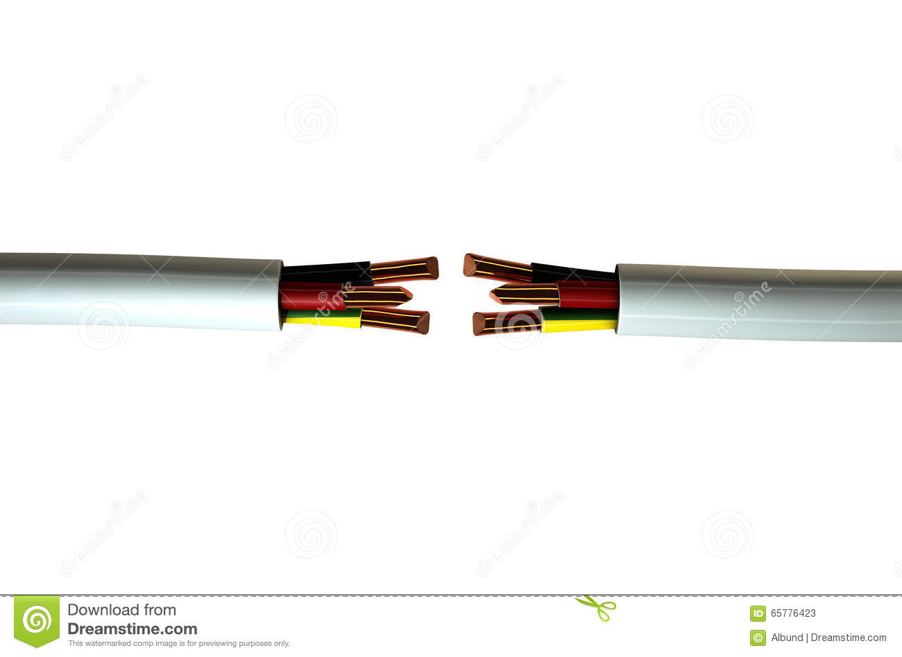 Electrical Cable Cut Stock Image Of Equipment 65776423 Copper Wire Two Opposing Regular Three Core Insulated With The And Exposed On An Isolated White Studio Background