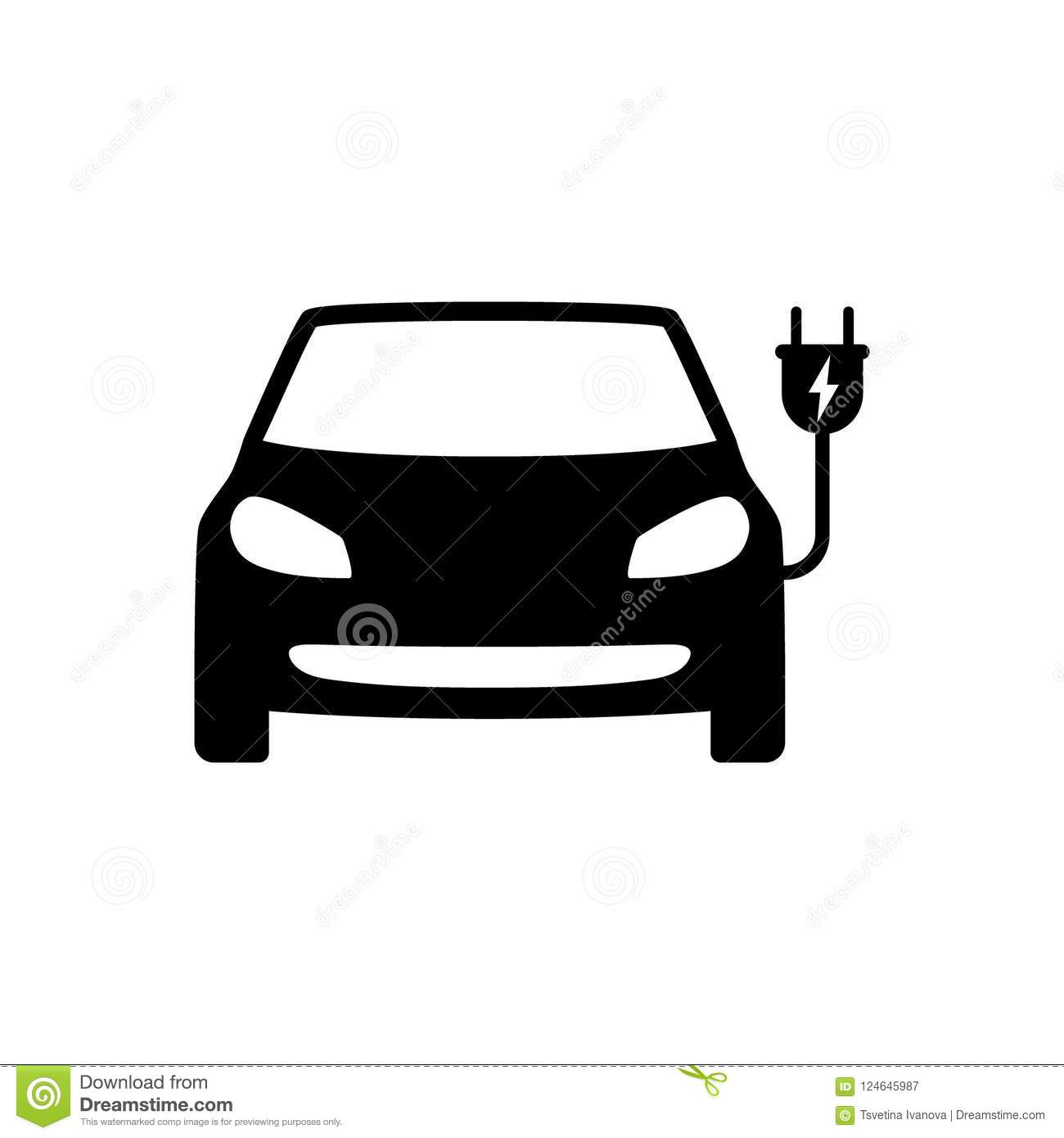 Electrical Car With Plug Black Icon Electric Car Symbol Stock