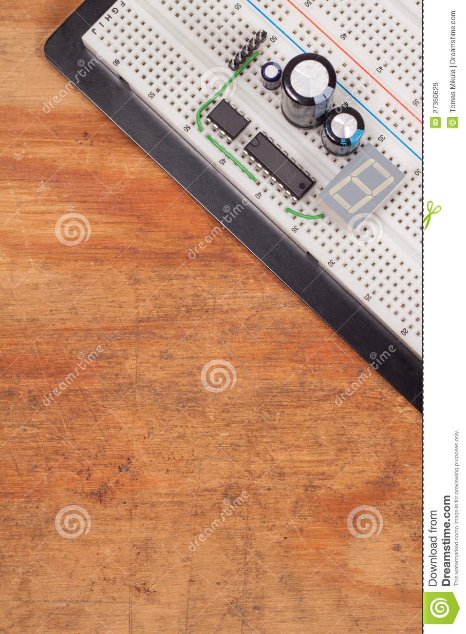 Testing Electrical Circuit On Breadboard Stock Photos Image Wire Farfromgenerator Short Dirty Wood Royalty Free Images 27360629 Gfci Tester