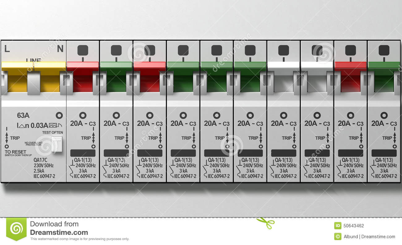 Electrical Circuit Breaker Panel Stock Photo Image Of Electricity Breakers Download Electrician 50643462