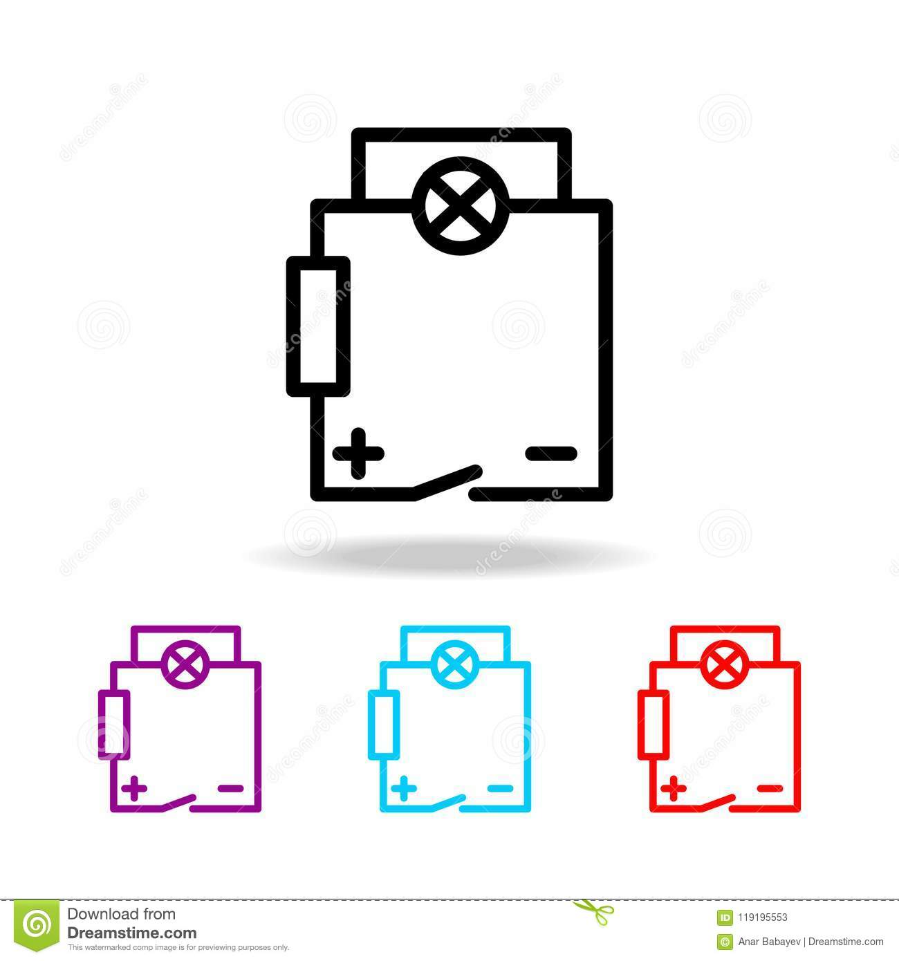 Simple Electric Circuit Icon Great Installation Of Wiring Diagram Electrical Circuits Elements Electricity In Multi Colored Rh Dreamstime Com Science