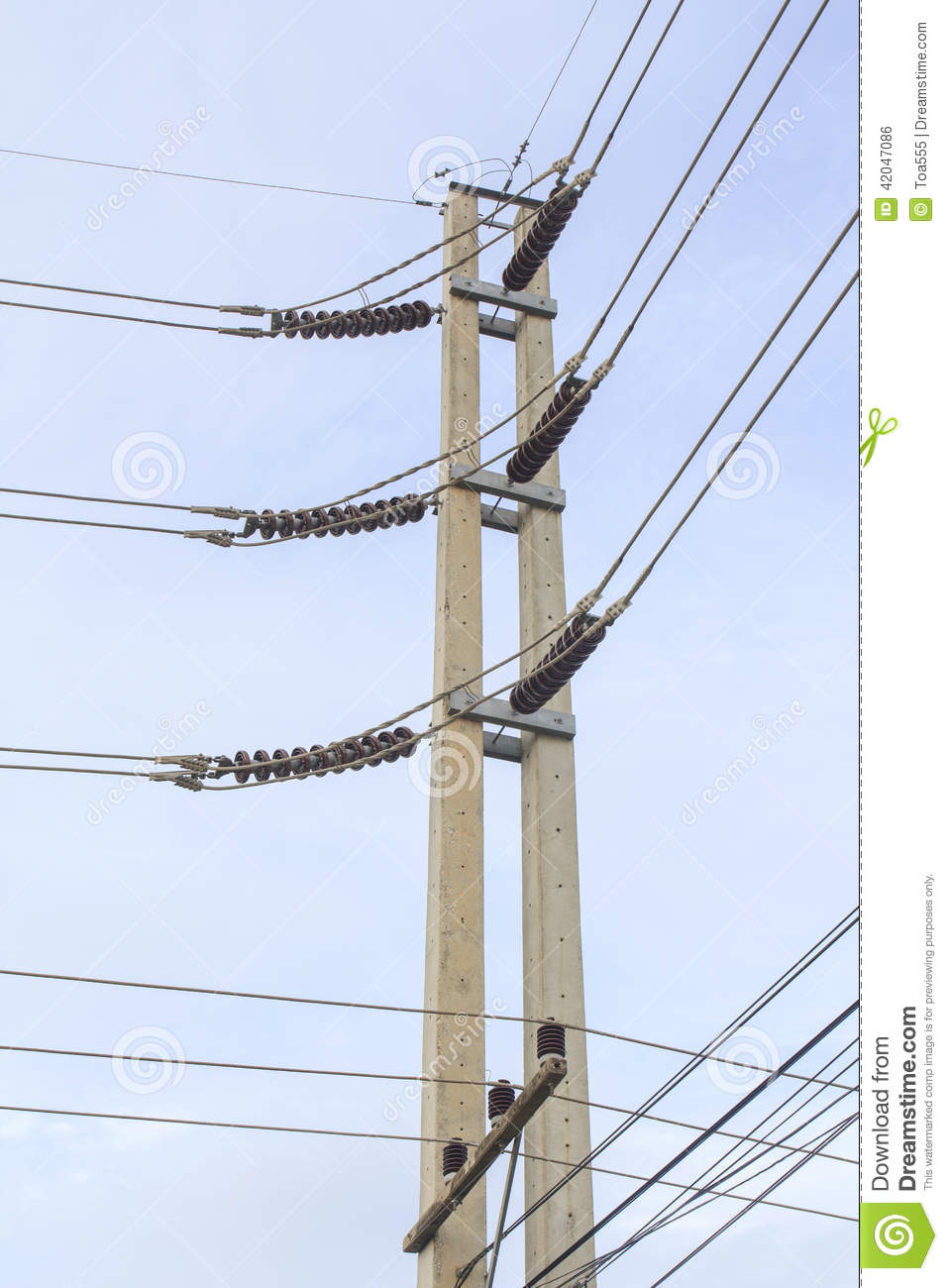 Electrical Concrete Pole At Corner Stock Photo - Image of