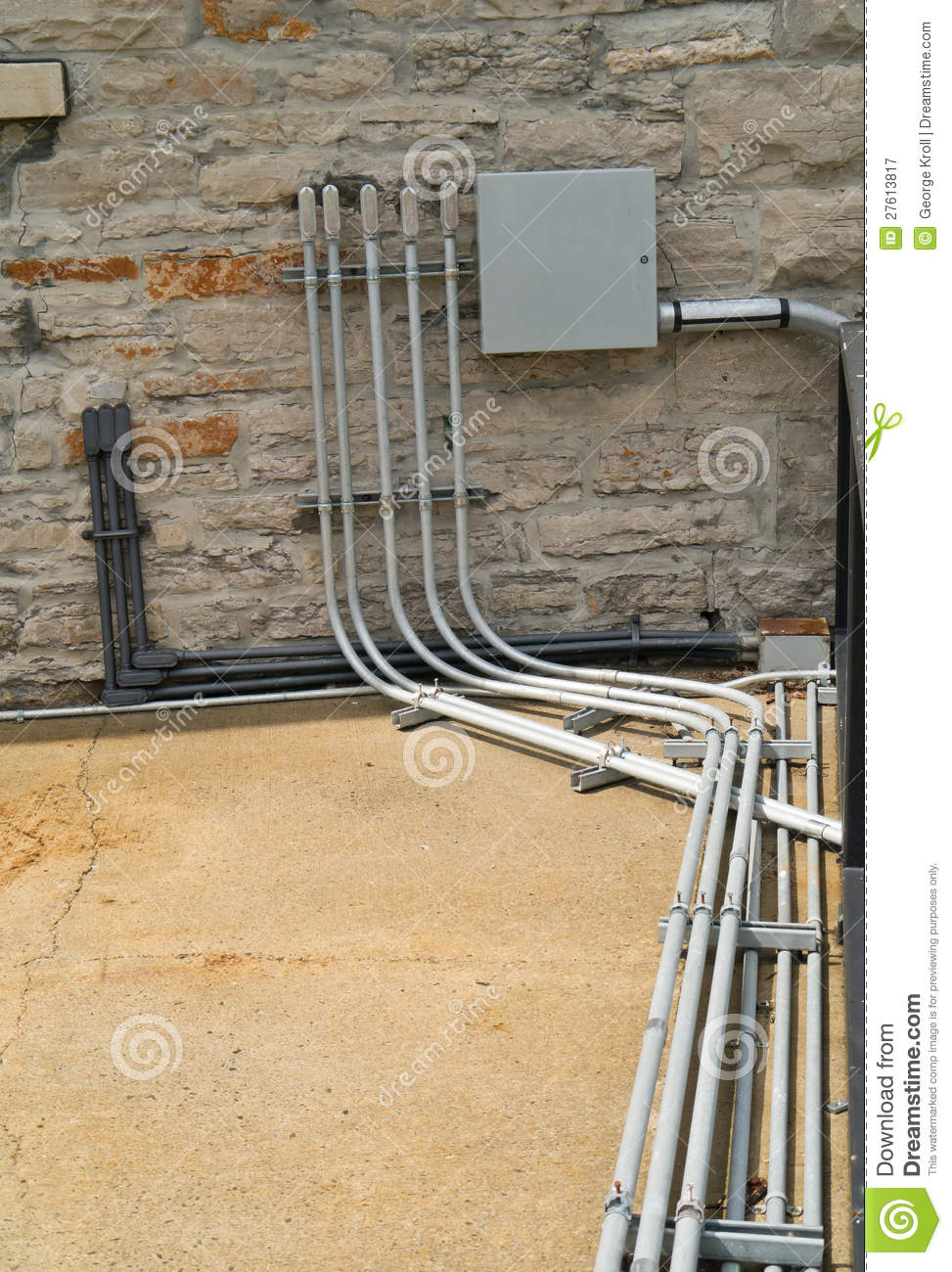 Electrical Conduit And Panel Royalty Free Stock