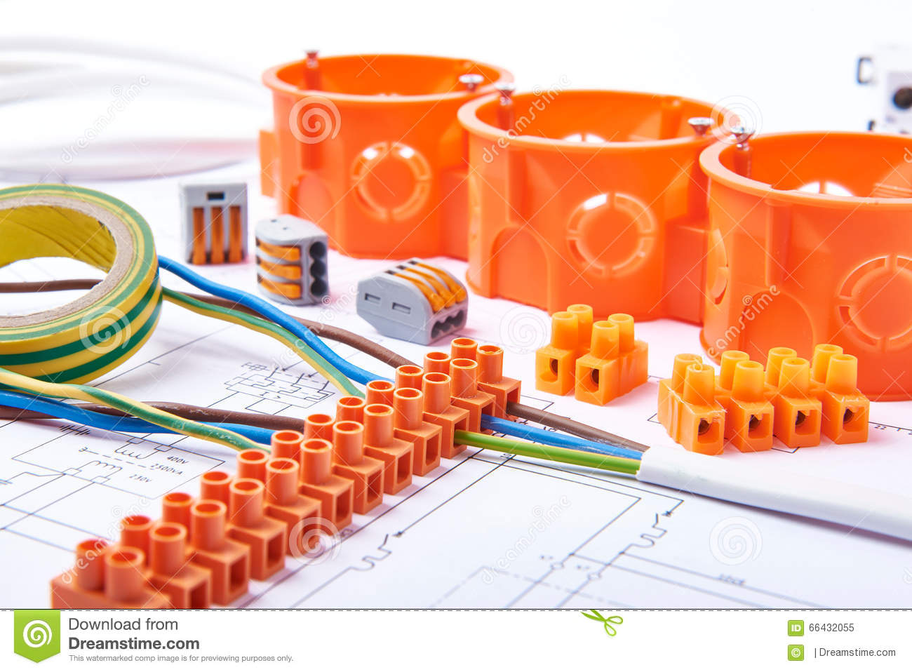 Electrical Connectors With Wires Junction Box And Different Wiring Materials Used For Jobs In Electricity