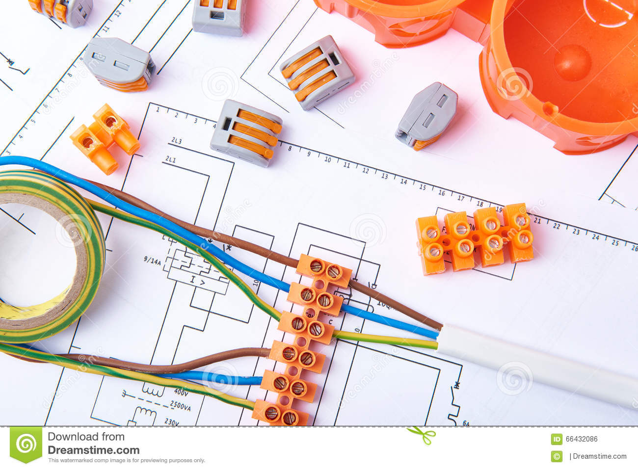 Electrical Connectors With Wires Junction Box And Different Phone Wire Wiring Diagram Materials Used For Jobs In Electricity Many Tools Lying On Diagrams