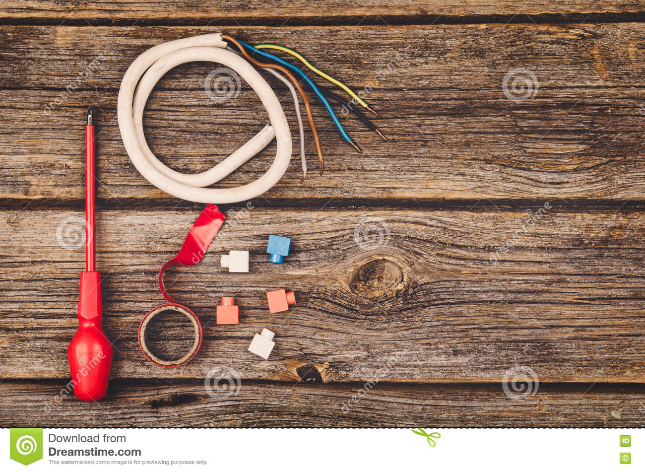 Instruments In Electrical Construction : The electrical construction tools vector illustration