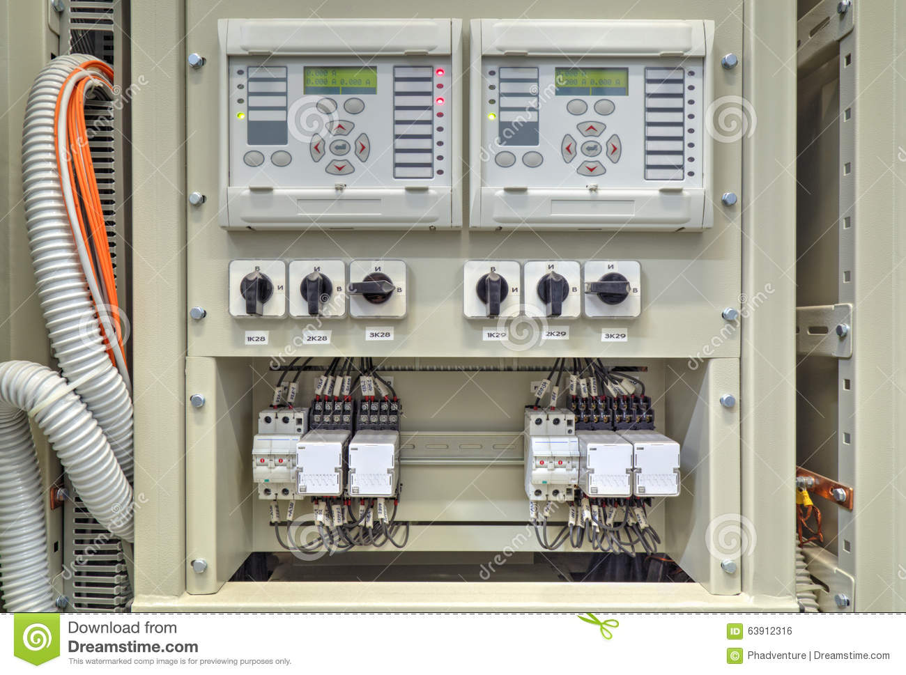 Electrical Control Panel With Electronic Devices In Electrical ...