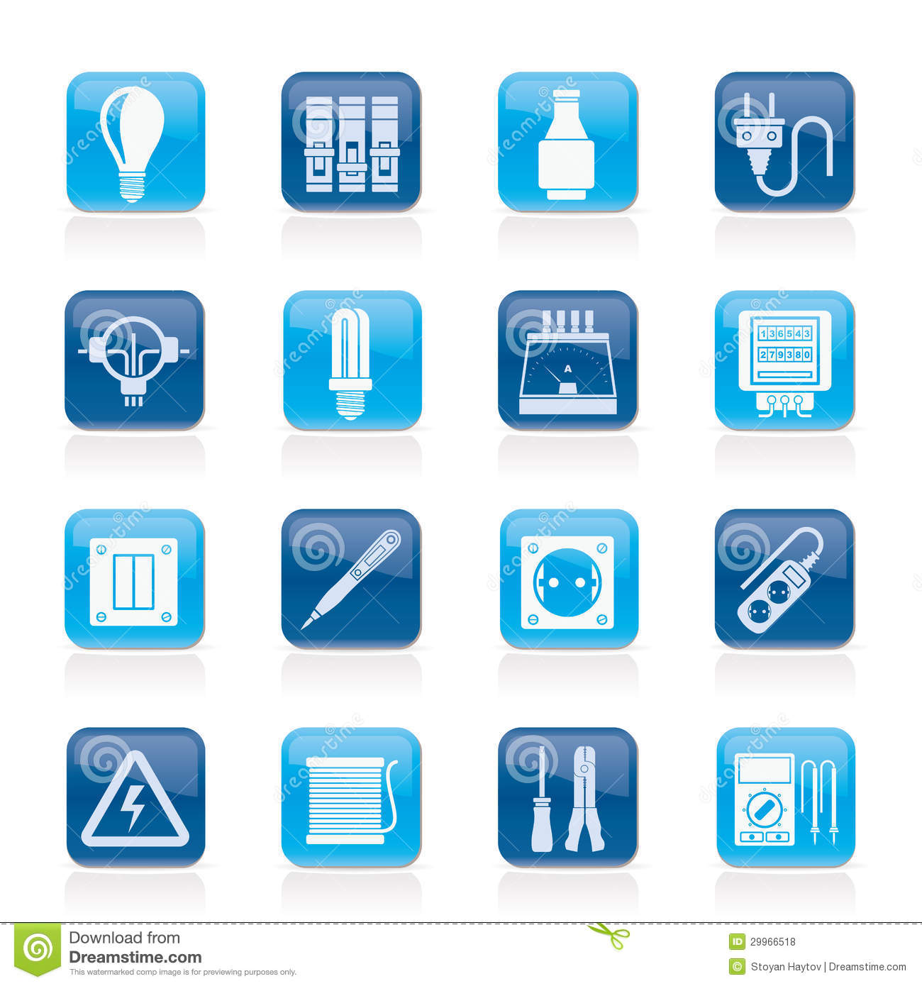 Electrical Devices And Equipment Icons Royalty Free Stock