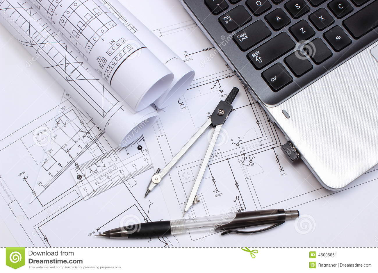 Electrical Diagrams Accessories For Drawing And Laptop Stock Image Download Of