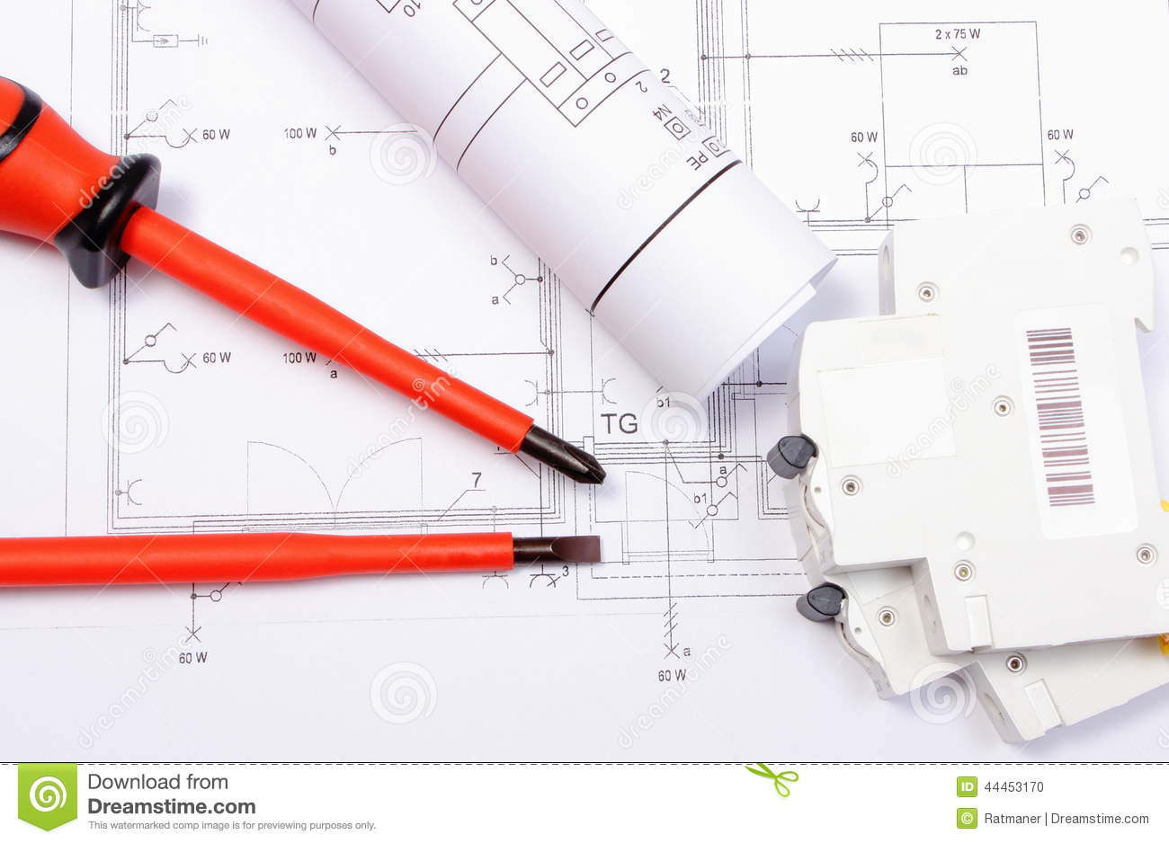 Electrical Diagrams Electric Fuse And Screwdrivers On Construction Drawing In House Of