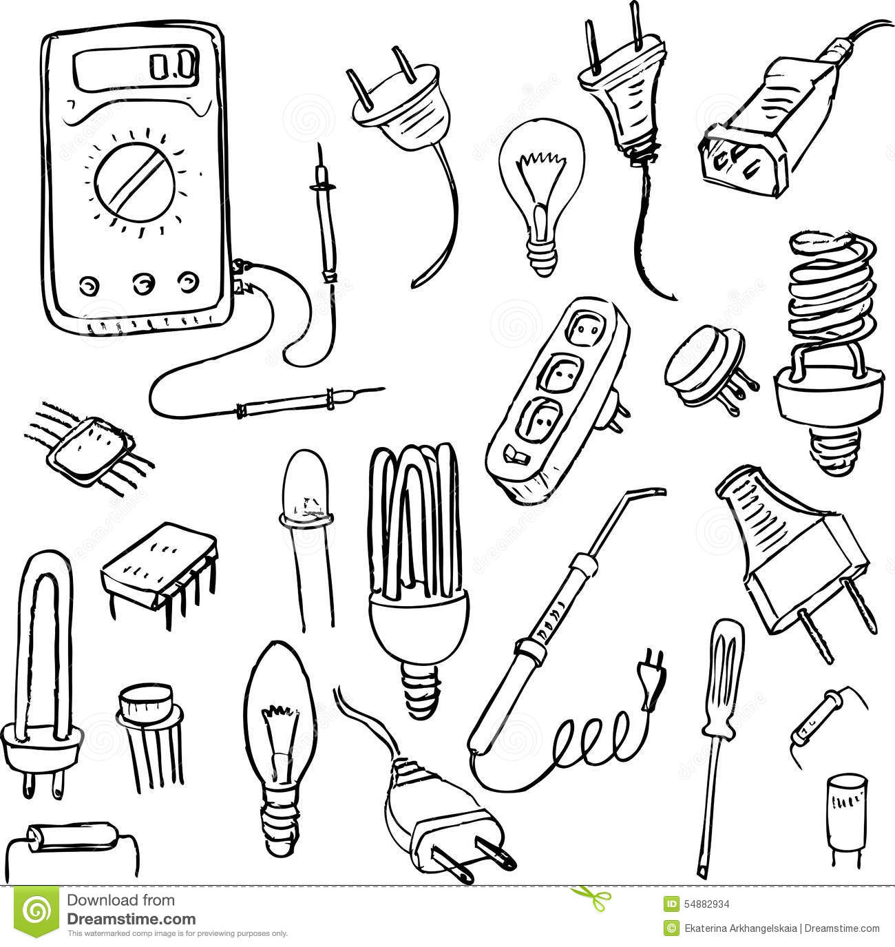 Electrical Doodle Set Stock Vector Image 54882934