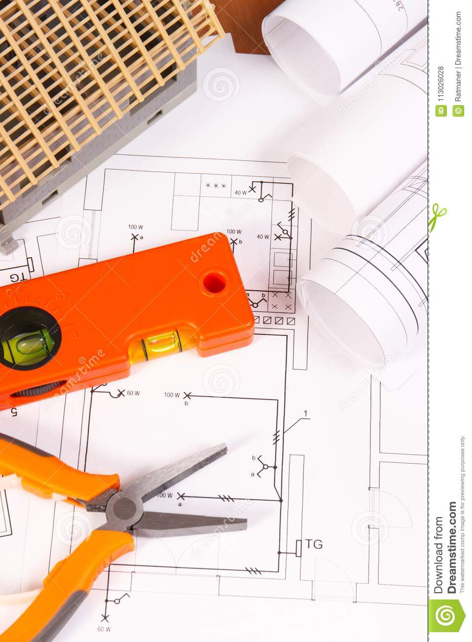 Electrical Diagrams Or Drawings Work Tools And House Under Schematic For Construction Building Home Concept
