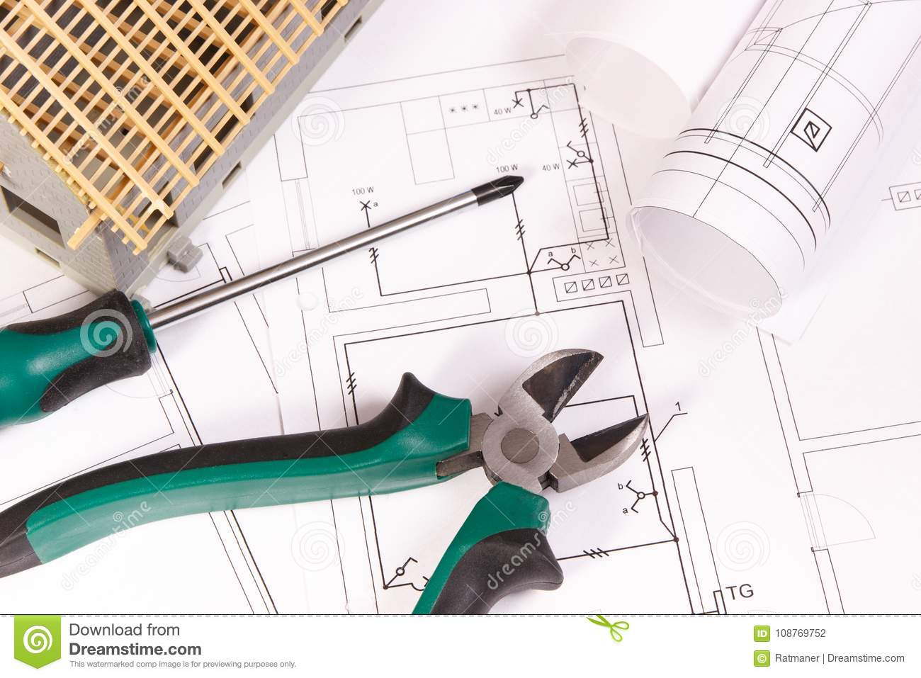 Electrical Drawings Work Tools And House Under Construction Diagram Building Home Concept