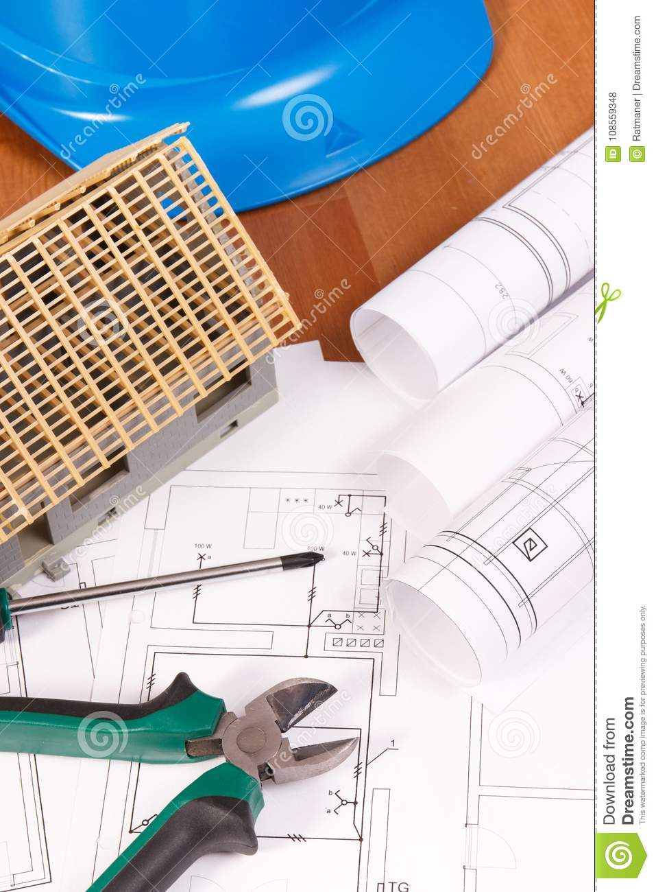 Electrical Drawings Work Tools Blue Helmet For Engineer Jobs And Drawing Of House Under Construction