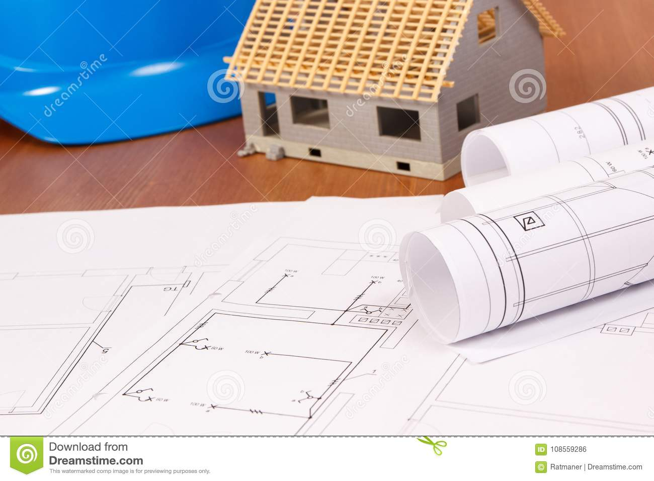 Electrical Drawings House Under Construction And Protective Blue Diagram Building Helmet Home Concept