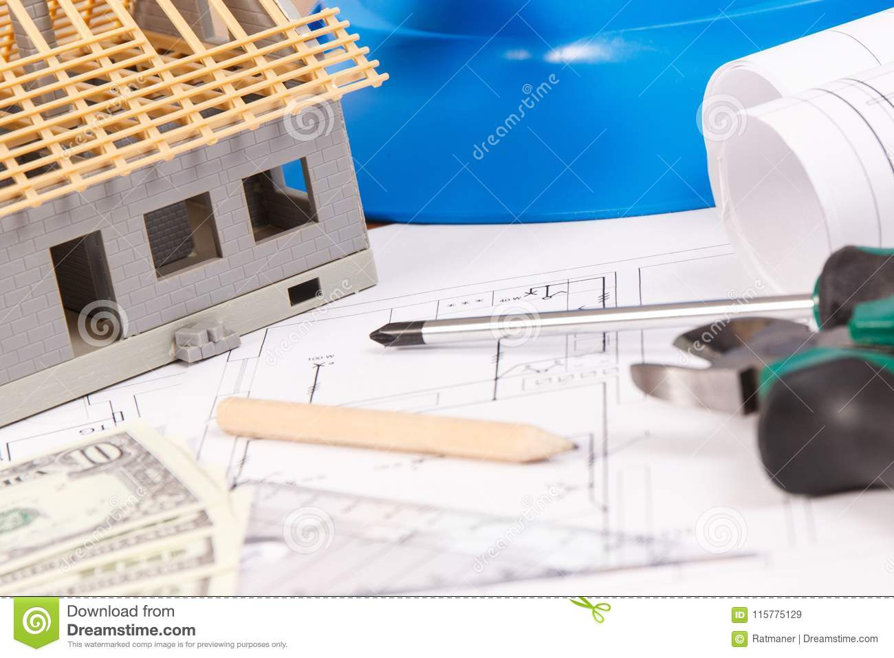 Electrical Drawings Work Tools And Accessories Small House Drawing Of Currencies Dollar Building Home