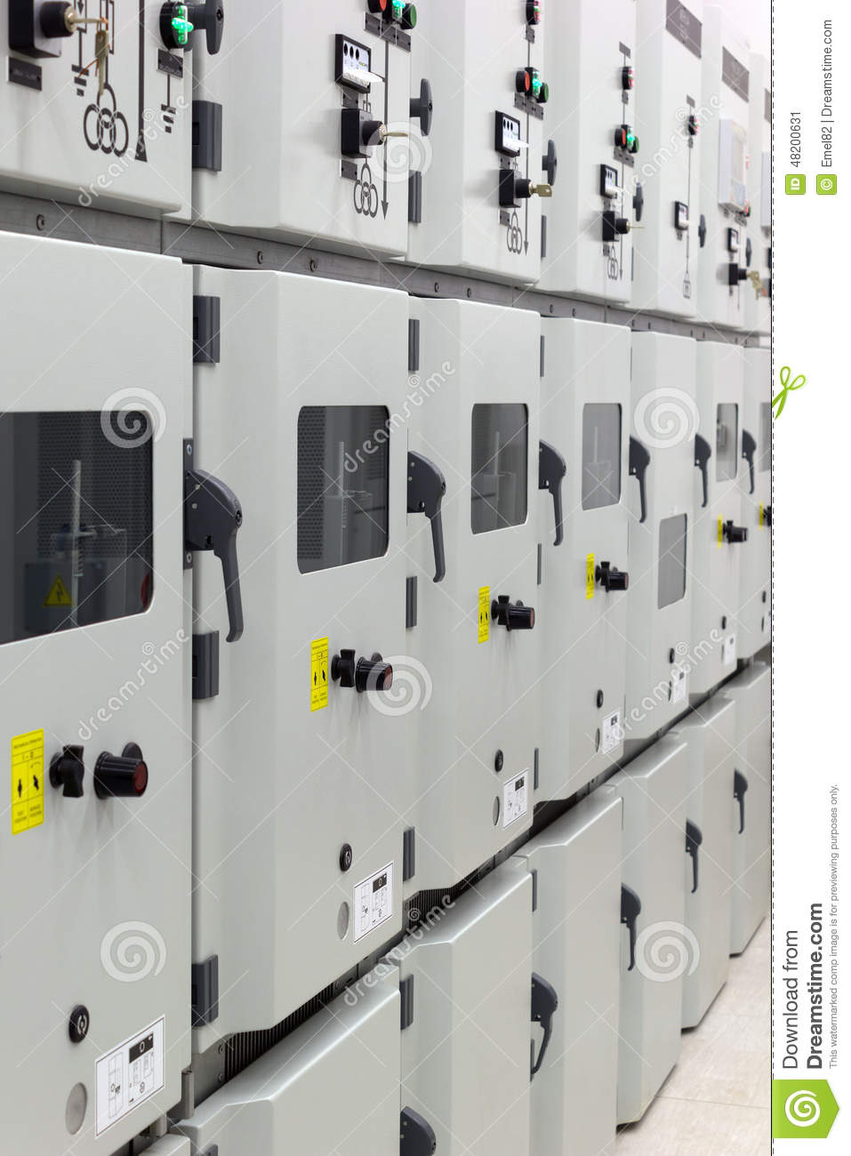 Electrical energy distribution substation stock image for Distribution substation