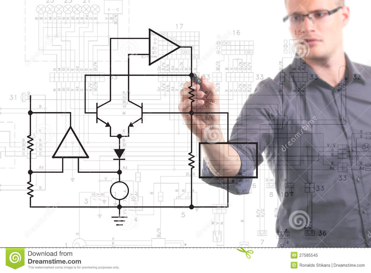 Electrical Engineer Drawing Circuit Diagram Stock Image Of Electronic Software Circuits Pic