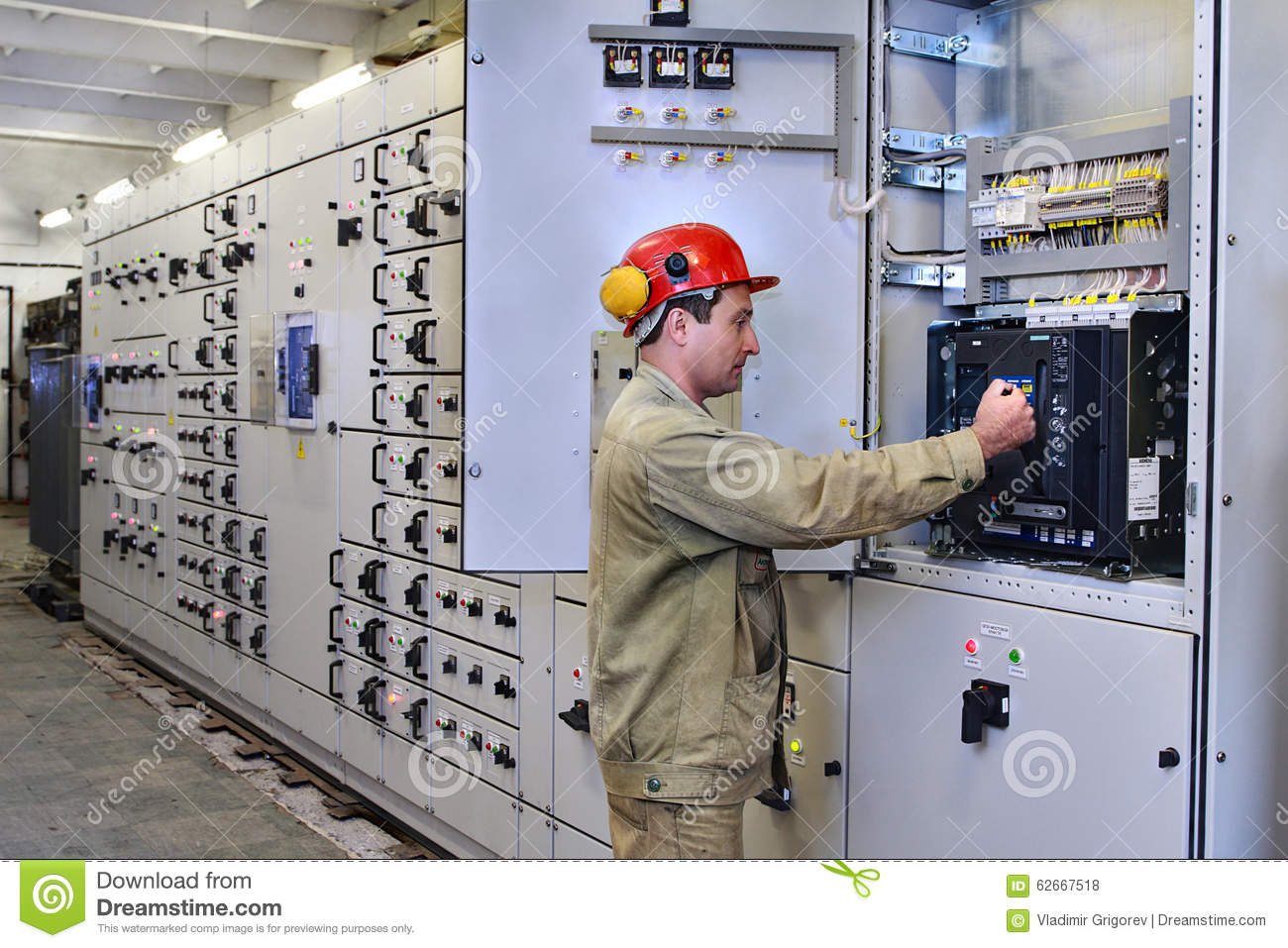 Electrical Engineer Equipment : Electrical engineer uses equipment of the switchboard