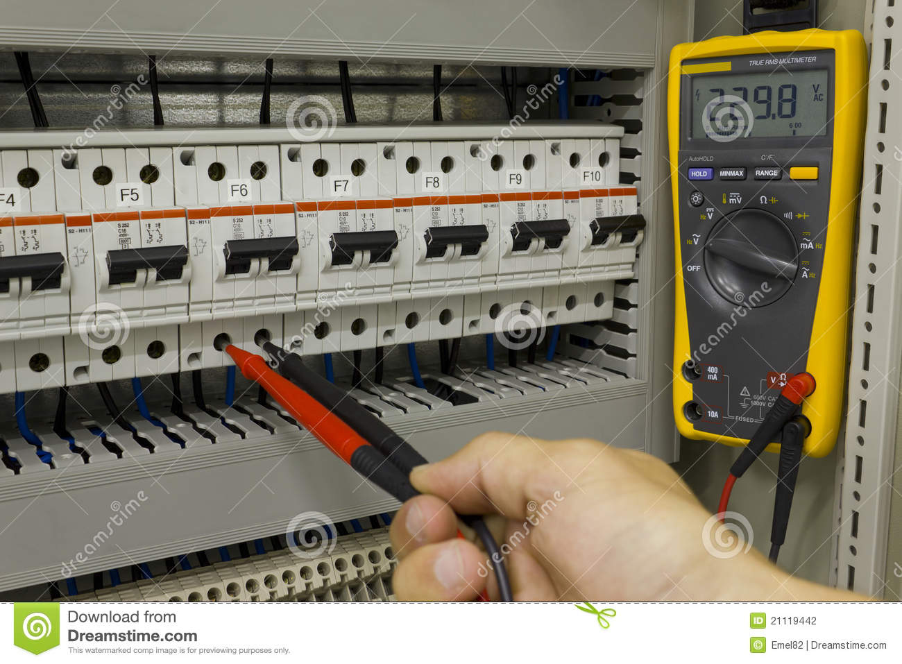 Electrical engineer at work