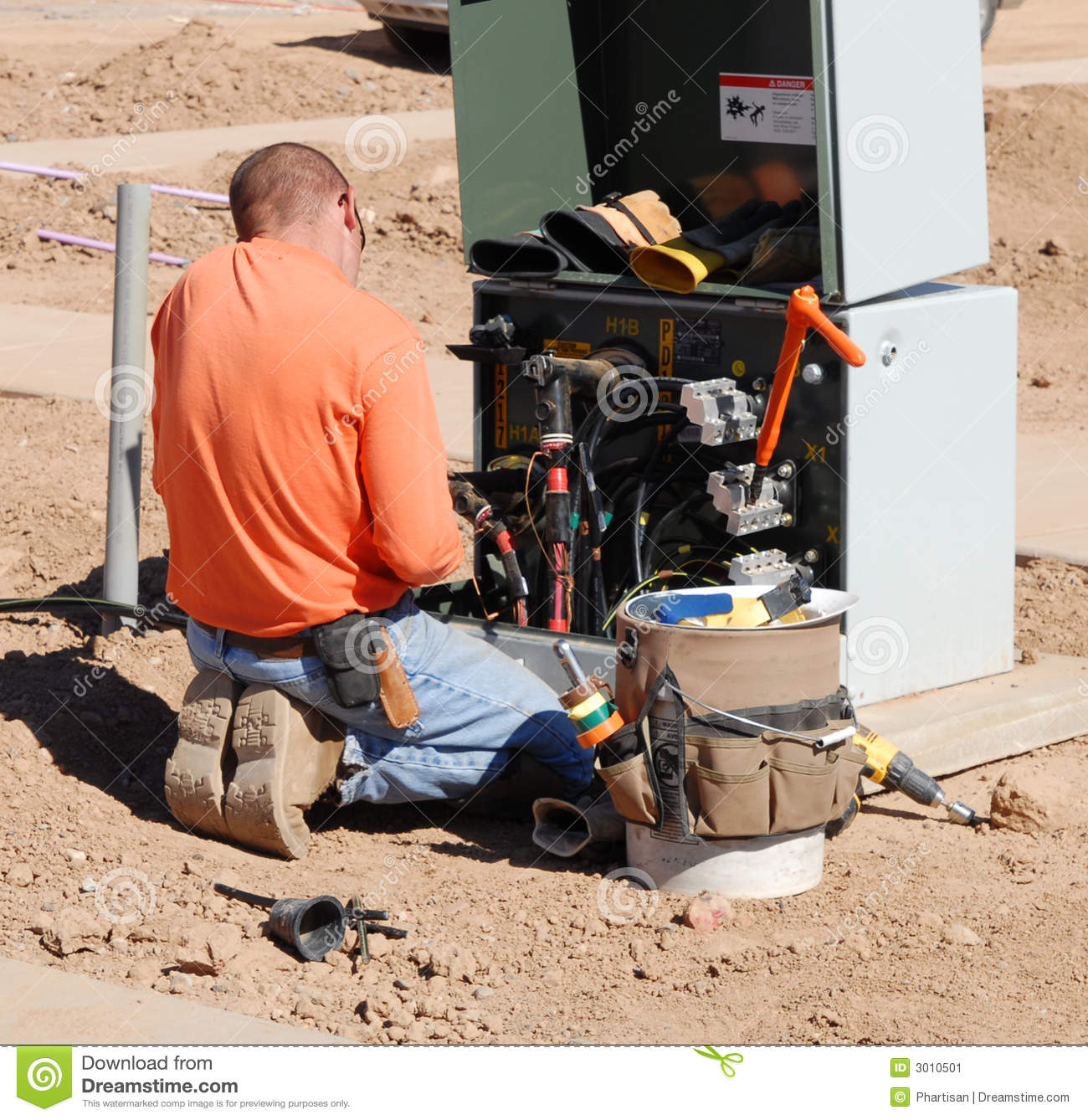 Electrical Engineer Working Stock Image