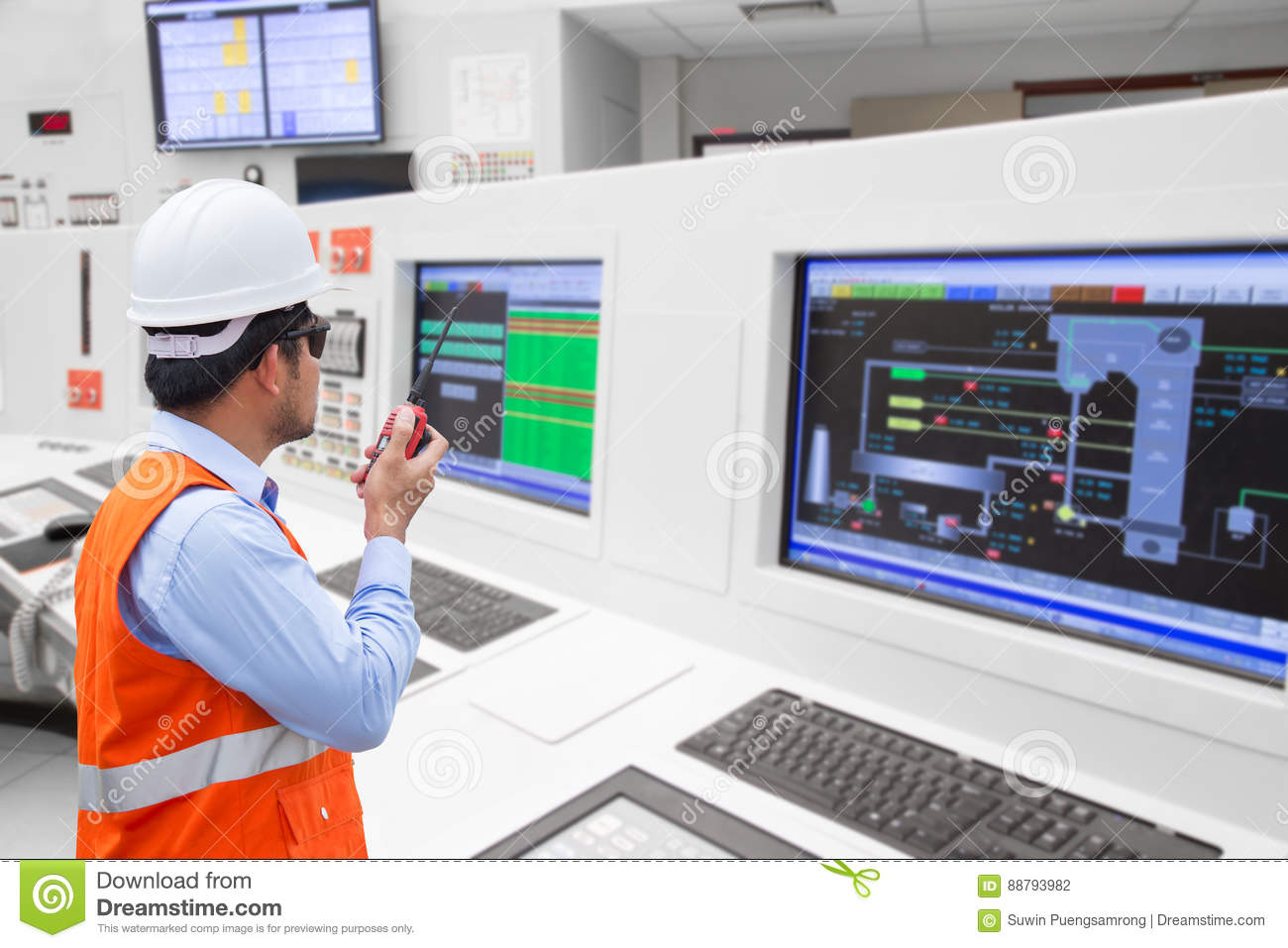 Electrical engineer working at control room of thermal power