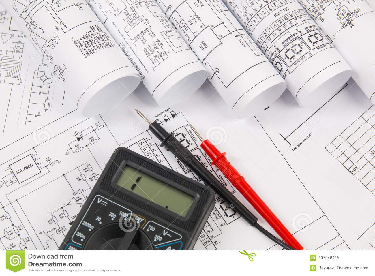 Electrical Engineering Drawings And Digital Multimeter Stock Image E Plan
