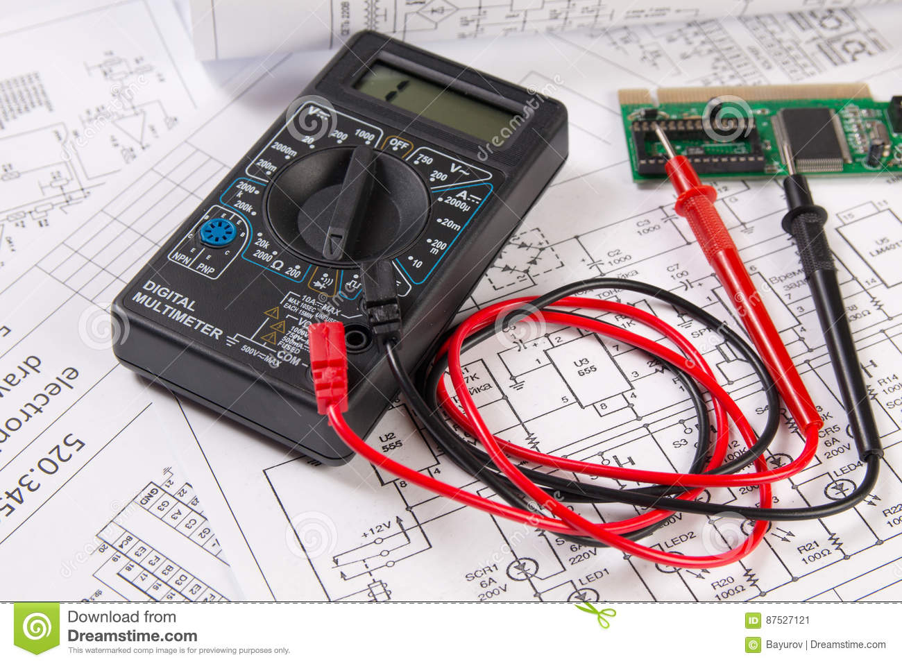 Electrical engineering drawings, electronic board and digital mu