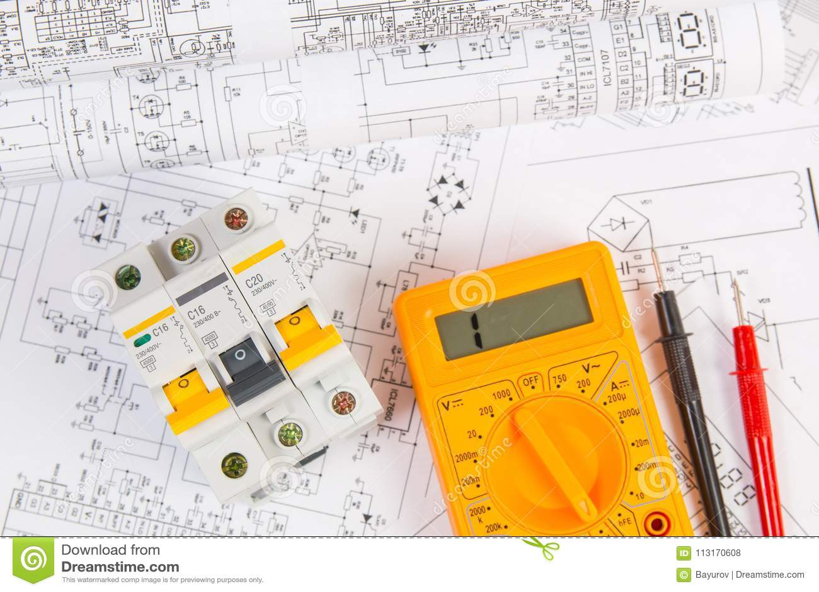 Electrical Engineering Drawings Modular Circuit Breaker And Digital Voltmeter Wiring Diagram Multimeter