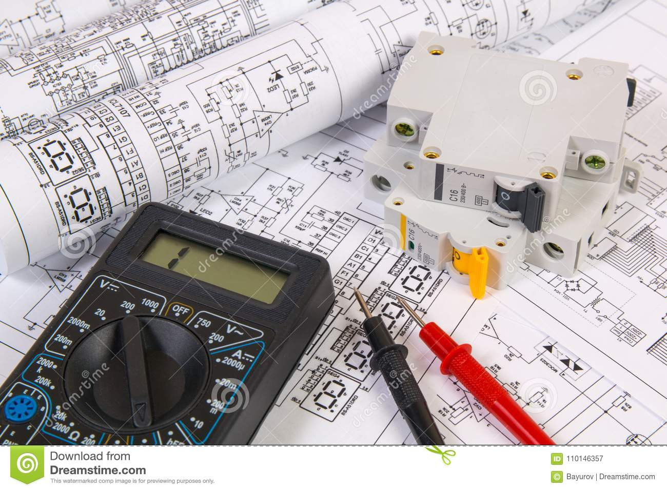 Electrical Engineering Design And Drawing Schematic In Cad Created With Elecdes Drawings Modular Circuit Breaker Digital