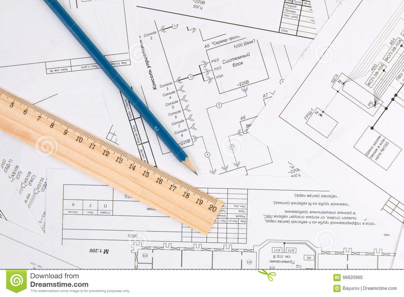 Electrical engineering drawings, pencil and ruler